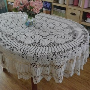 Tablecloth Handmade Crochet Tablecloth Lace Rendas Algodão Oval Pano Extra Long Table Capa 201120