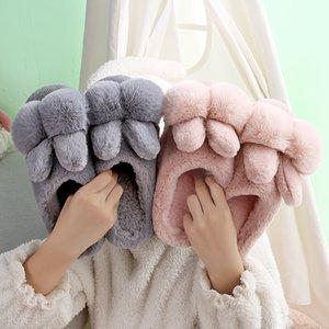 Rabbit Ear Designer Winter Indoor Bedroom Women Fur Slippers Warm Faux Fur Ladies Slides Flats Comfortable Women Furry Slippers 201204