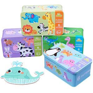 أطفال الإبداعية خشبية لغز الحديد مربع رياض الأطفال الطفل التعليم في وقت مبكر الكرتون الحيوان حركة المرور لغز الإدراكية التفاعلية