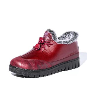 Hot Sale-Hot Fur Shoes Woman Snow Boots2020 Winter Shoes Women PU Leather Boots Buckle Waterproof Warm Slip On