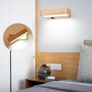 Lampe murale à LED en bois moderne Rotation de lampe d'éconce en rotation AC220V VANITÉ LUMILEME LEL LAMPE CHAMBRE DIRECT CREATIVE AISLE avec bouton de commutation