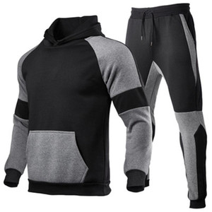 Mens Splicing Sports Sets Mode Trend Langarm Mit Kapuze Sweatshirt Hose Anzüge Designer Mann Neue Verdicken Plus Größe Casual lose Trainingsanzüge