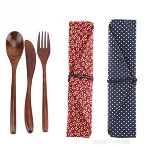 Reusable Bamboo Wooden Cutlery Fork Cutter Cutting Bag Students Office Worker Dinnerware Set Cooking Kitchen Tool