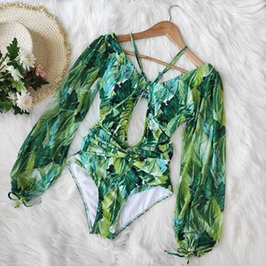 One Piece Swimsuit 2020 Long Sleeve Swimwear Women Bandage Print Monokini Sexy Black Bathing Suit String Backless Beachwear B1203