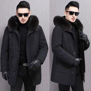 Winter Men Outerwear Warm Fake Raccoon Fur Jacket imitation Fur Parkas Men Parkas Liner Jackets Male Hooded black
