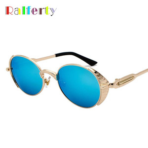 Ralferty Retro Steampunk Sunglasses Women Small Metal Frame Oval Sun Glass Men Vintage Punk Goggles Mirror Shades Oculos J895