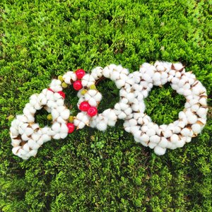 Artificial Wreath Red Berry Garland Dried Flower Cotton Wreath DIY Christmas Door Garland for Home Wedding Party Decoration