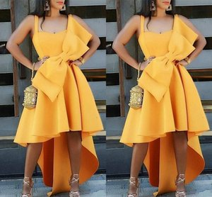 New Yellow Cheap Charming High Low A Line Short Cocktail Dresses with Big Bow Spaghetti Straps Homecoming Party Gowns Vestidos De Novia