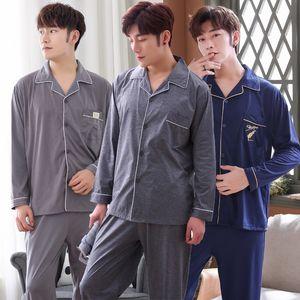 2020 Autumn Winter Long Sleeve Cotton Print Pajama Sets for Men Cardigan Sleepwear Suit Pyjama Male Hombre Homewear Home Clothes Q1203