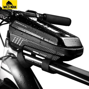 WILD MAN Hard Shell Bike Top Tube Bag Rainproof Front Frame Bicycle Bag Cycling Bag Accessories Capacity 1L 201116