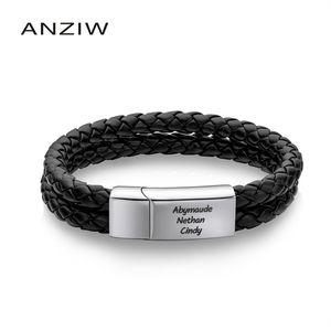 Anziw engrave имя Черный оплетка тканые кожаные браслет браслет мужские браслеты мужчин ювелирные изделия винтаж подарок мужчины DIY ювелирные изделия 201211