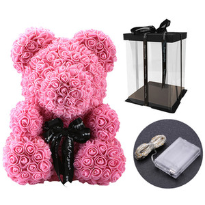 40cm Lovely Bear of Roses with LED Gift Box Teddy Bear Rose Soap Foam Flower Artificial New Year Gifts for Valentine's day gift PPE3948