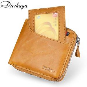 Держатель DICIHAYA из натуральной кожи Мужчины Wallet Small Мужчины бумажники Zipper мужчина монет сумка Короткие карты кошелек марка высокого качества конструктора C1115