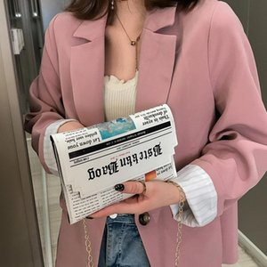 Trend Envelope Bag Women 2020 New Personality Inkjet Newspaper Clutch Bag Wild Shoulder Messenger Chain Evening