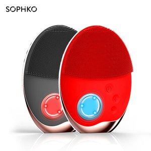 Sophko Powered Facial Cleansing Dispositivos Massagem para Pincel Ultra-sônica Escova Elétrica Elétrica Sem Fio Charging Pele Massage 201204