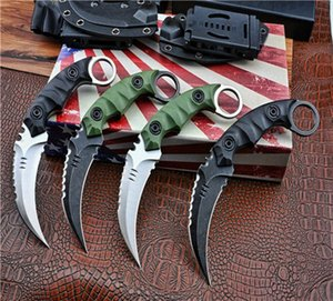 New Arrival Outdoor Survival Tactical Fixed Blade Claw Knife D2 Black Stone Wash Satin Blade Full Tang GRN Handle Karambit