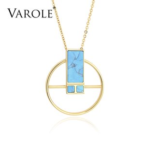 VAROLE Splicing Patterns 26 in Natural Stone Round Charm Necklaces & Pendants Gold Jewelry Pendant Necklace For Women Girls