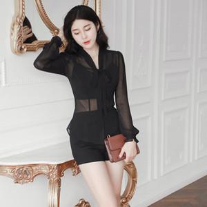 New Fashion Sexy Lady Black Transparent Chiffon Shirt Blouse long sleeves Design Blouse 2020 for women A1112