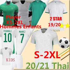20 21 Argélie Jogador Versão XS-XXL Futebol Jerseys Fãs 2 Estrela Mahrez BoutaNedjah Bouzza 19 20 Argélia Maillot de Football Men Kids Uniform
