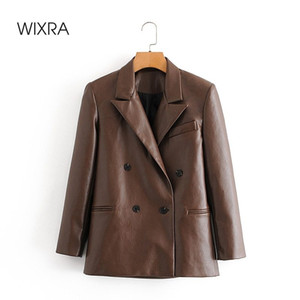 Wixra Womens PU Blazer Jacket Spring Autumn Casual Double Breasted Notched Long Sleeve Faux Leather Coat High Street Outerwear X1214