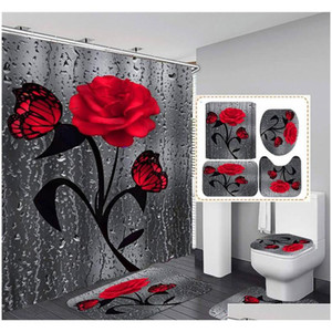bathroom sets shower curtain set 4 pieces a set waterproof washroom bath curtains lid toilet cover mat non-slip pedestal rug set
