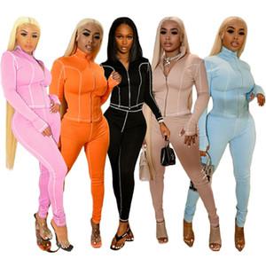 Fashion Cardigan Womens Tricksuits Casual Lepal Cuello Dos piezas Pantalones Soild Color Designer New Womens Ropa