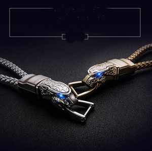 Car Keychain Leopard Braided Leather Zinc Alloy Key Chain Male Key Rings Keyring Black Silver Auto Styling Accessories with Retail box