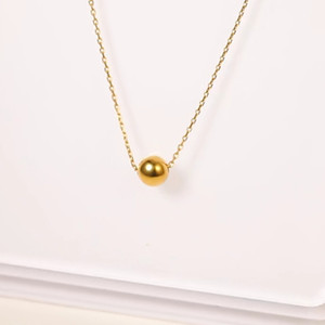 Real 18K Gold Jewelry Necklace Solid Gold Beads Pendant Pure AU750 For Women Fine Wedding Gift