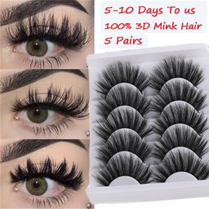5 Pairs 3D 100% Mink Hair False Eyelashes Natural Thick Long Fake Lashes Wispy Fluffies Eye Makeup Beauty Extension Tools