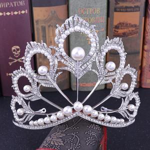 2021 yeni çarpıcı gümüş beyaz kristaller tam düğün tiaras ve kron gelin tiaras aksesuarları vintage barok gelin tiaras taçlar 12141