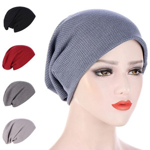 Autumn Winter Cotton Bonnet Hat Solid Color Head Cover Unisex Sleep Hat Night Cap Turban Muslim Women Keep Warm Headscarf