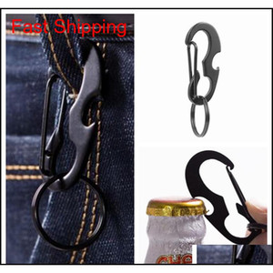 Outdoors Portable Carabiner Type D Buckle Metal Fast Fastening Keychain Bottle Opener Spring Hook Multi Function Outdoor Gadgets 1G4Ae