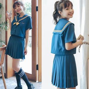 Japanese School Student JK Uniform Girl Anime Long Short Sleeve Shirt Sailor Dress Set Navy Blue College Pleated Skirt Plus Size