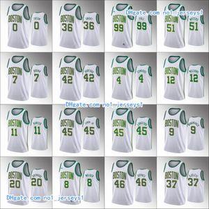BostonCelticsMen Jayson Tatum Jaylen Brown Gordon Hayward Walter Lemon Jr. Kemba WalkerWhite Custom Basketball Jerseys