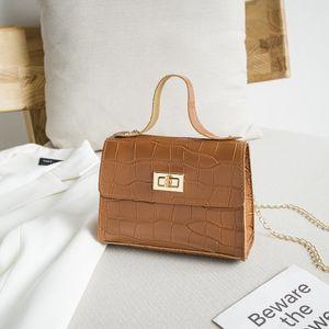 Hot Sale Fashion PU Leather Shoulder Bag Women Vintage 2020 Cross body Bag Metal Chain Stone Pattern Small Square Handbag Messenger Bag
