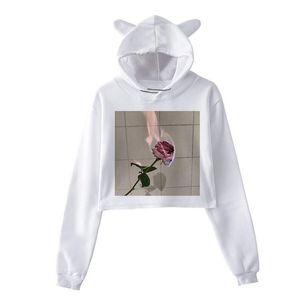 Rose Printed Hoodies Sweatshirts Women Crop Tops Long Sleeve Casual Autumn Winter Pullovers Street Loose Plus Size Sweatshirts