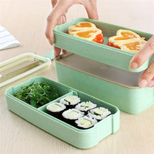 Wheat Straw Lunch Box Healthy Material Lunch Box 3 Layer Wheat Straw Bento Boxes Microwave Dinnerware Food Storage Container GGB3456