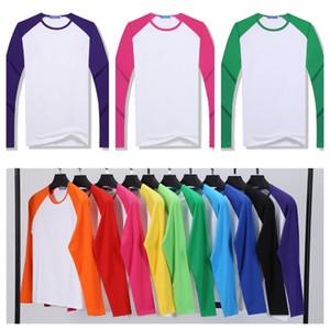 Сублимационная пустая футболка термическая теплопередача печать футболка DIY унисекс блузка топ-тройник родительский ребенок лоскутный раглан футболка G10606