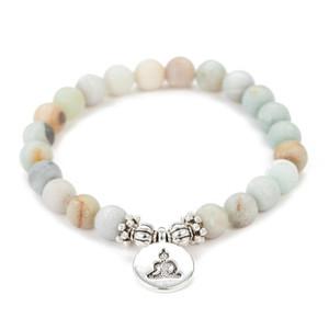 8mm Matte Amazonite Stone Strand Bracelet Yoga Chakra Mala Bracelet OM Lotus Women Men Beaded Charm Bracelet Handmade Jewelry