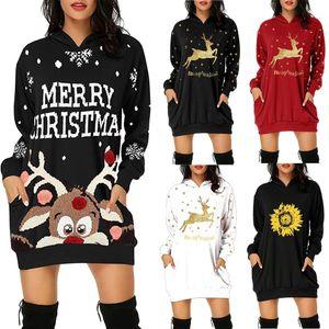 New Christmas Dress Delle Donne Fashion Fashion Felpa con cappuccio Borsa da tasca Hip Pocket Stampa con cappuccio Abito moda Vestidos Invirno 2020 Mujer Casual