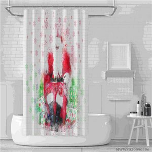 Christmas shower curtain and happy new year Christmas tree gift ball bathroom waterproof shower curtain