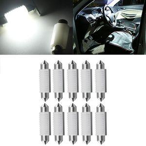 Yolu 10 قطع السيارة الصمام السيراميك أضواء مزدوجة مزدوجة 3030 2SMD مصباح مقصورة القراءة ضوء لوحة ترخيص لوحة lamps1
