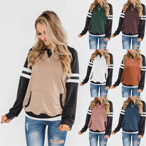 Casual Patchwork Womens T Shirts Long Sleeve O Neck Pullover Pockets Tops Spring Autumn Fall Women Designer tshirts