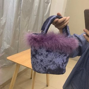 Vintage Velvet Women Bucket Shoulder Bag Fashion Furry Ladies Small Crossbody Bags Luxury Female Evening Clutch Purse Handbags