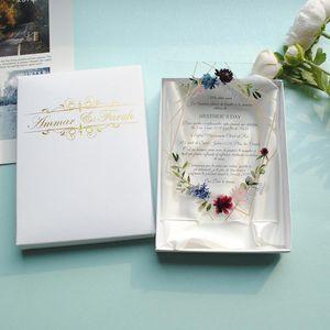 free custom colorful printing acrylic card wedding invitation card Transparent gold leaves