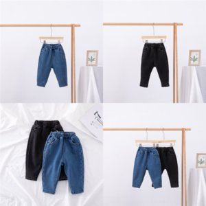 Q8CEr only casual Thicken pantnew autumn Add velvet fashion style Keep warm child boys denim pant children pants jeans for elastic boys