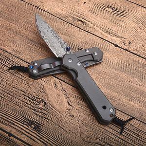 Новое поступление Малый складной нож VG10 Damascus стальной лезвие TC4 титановый сплав EDC карманные ножи с розничной коробкой