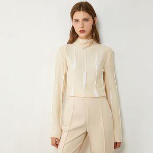Amii Minimalism Autumn Winter Women's Sweater Fashion Art Jacquard Slim Fit Turtleneck Sweater Causal Female Tops 12070391 201124