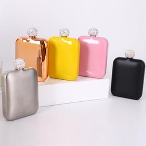 Diamond Hip Blesks in acciaio inox flagon wine pot bottiglie di alcool con coperchio del coperchio di strass Mini flacone dell'anca tondo vaso di vino regalo fwd3071