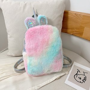 Winter new laser color plush unicorn backpack female school bag casual fashion